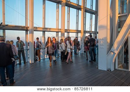 Visitors On The Viewing Platform In The Shard.