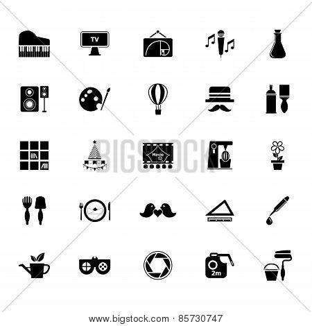 Art Activity Icons On White Background