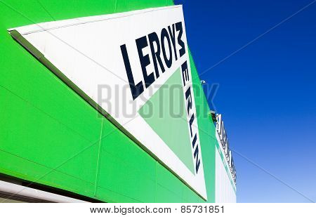 Leroy Merlin Brand Sign Against Blue Sky