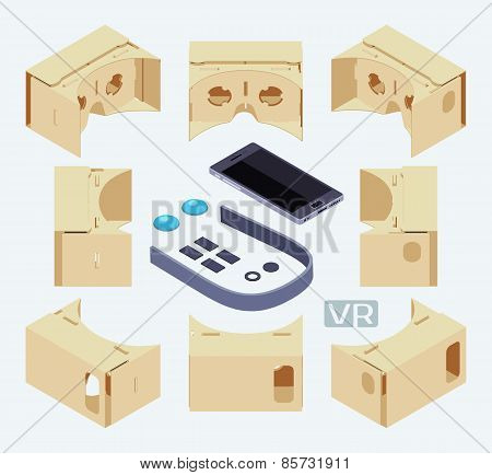 Isometric parts of the cardboard virtual reality headset