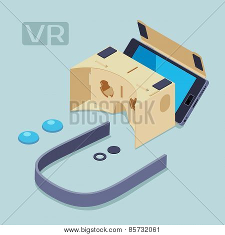 Isometric parts of the cardboard virtual reality headset. Conceptual illustration suitable for advertising and promotion poster