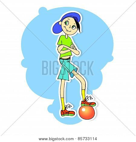 illustration of a boy on a blue background