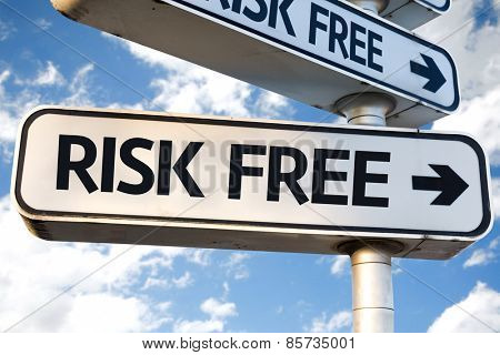 Risk Free direction sign on sky background