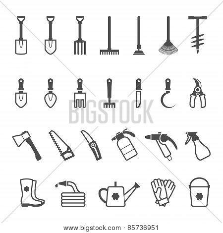 Vector icon set of garden tools