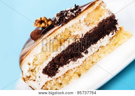 Cake With A Chocolate Stratum