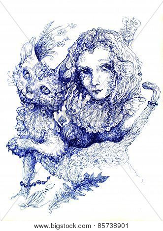 Beautiful Detailed Fantasy Drawing Of A Fairy Girl And A Cat, Ornamental Monochromatic Style