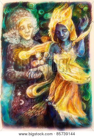 Dancing Blue Spirit And Visionary Woman, Colorful Painting