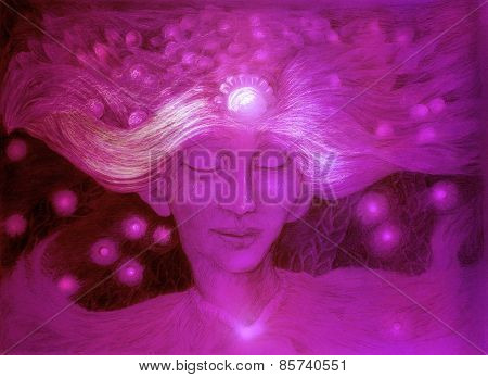 Purple god of the starry wind ornamental detailed drawing of elven man gentle head linear monochromatic fantasy portrait abstract background poster
