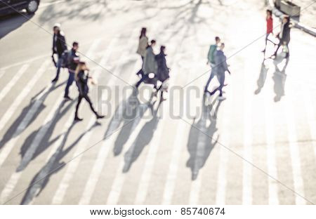 Pedestrian On Zebra In Motion Blur