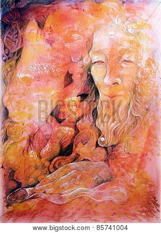 Elven fairy realm abstract painting detailed colorful artwork on red orange background poster