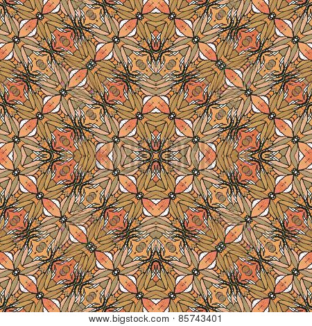 Hand draw and digital edited mixed media technique floral motif decorative art noveau style seamless pattern in colorful warm tones. poster