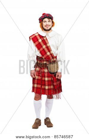 Scottish traditions concept with person wearing kilt isolated on white