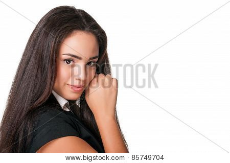 Portrait of pretty young lady, isolated on white