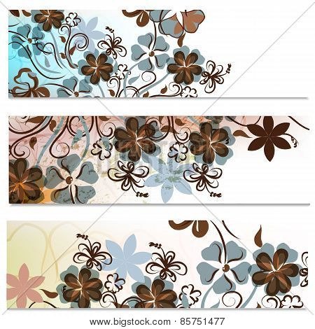 Floral Brochures Set With Abstract Flowers