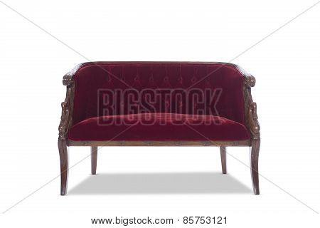 Deep Red Antique Vintage Sofa