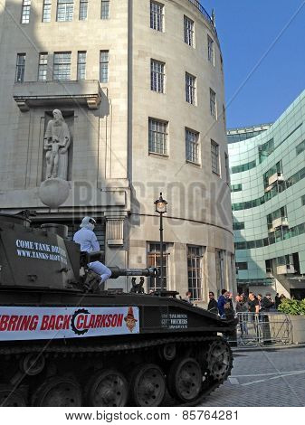 The Stig on a Tank at the BBC