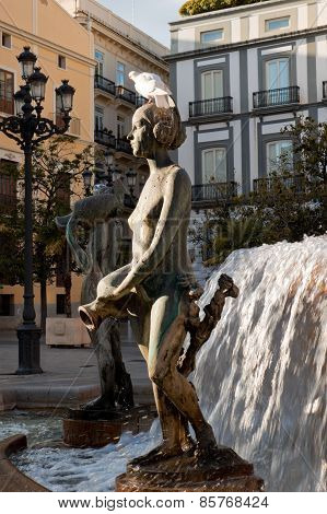 One Of The Sculptures Of The Turia Fountain In Valencia