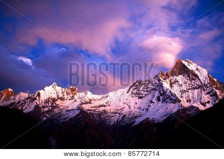 Mount Machapuchare (fishtail) At Sunset, View From Annapurna Base Camp