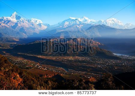 View Of The Himalayan Mountains From Sarangkot, Pokhara