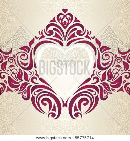 Wedding Red and Gold vintage invitation background