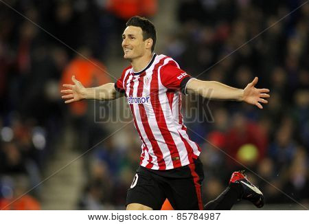 BARCELONA - 4, MAR: Aritz Aduriz of Athletic de Bilbao celebrates goal during a Spanish League match against RCD Espanyol at the Estadi Cornella on March 4, 2015 in Barcelona, Spain