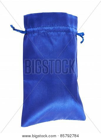 Blue drawstring bag packaging isolated