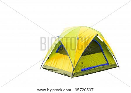 Isolated Yellow Dome Tent