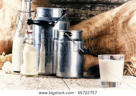 Farm Setting With Fresh Milk