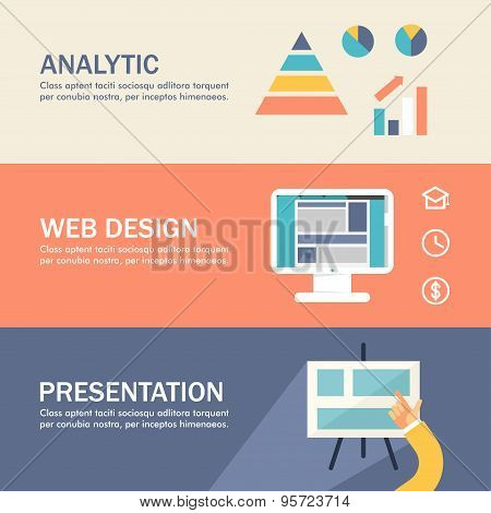 Set Of Flat Design Concepts For Web Banners And Promotional Materials. Analytic, Web Design, Present