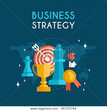 Flat Design Vector Business Concept. Business Strategy