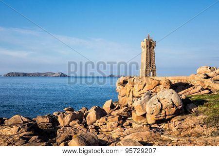 Atlantic ocean coast in Brittany near Ploumanach (France). poster