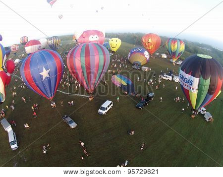 Hot Air Balloons Seen From Above In Early Morning