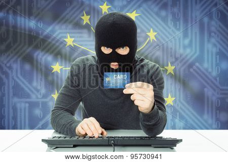 Hacker Holding Credit Card And Usa State Flag On Background - Indiana