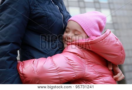 Happy Family Moments - Mother And Child Having Fun In The City