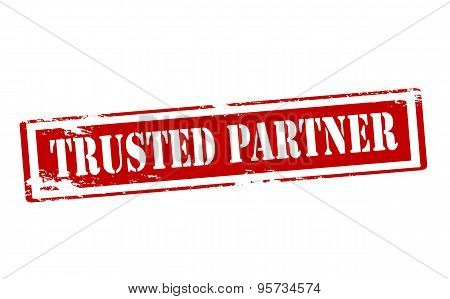Rubber stamp with text trusted partner inside vector illustration poster