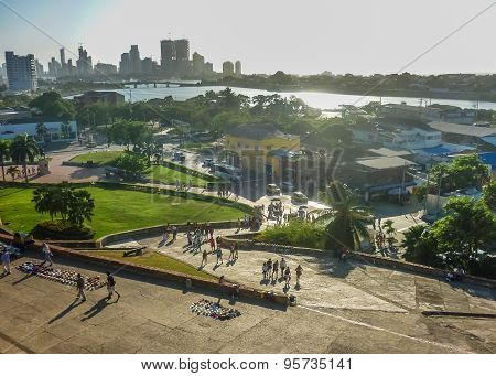 Aerial view from san felipe de barajas fortress of modern buildings and river at sunny day in Cartagena the most famous watering place of Colombia. poster