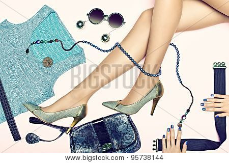 Womans sexy slim legs with Set of stylish luxury clothes
