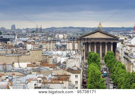 Madeleine Church With Paris Skyline