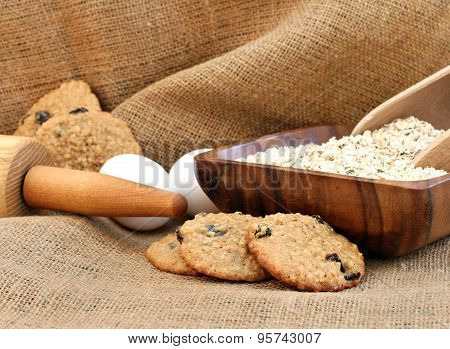 Oatmeal Raisin Cookies On A  Burlap Background.