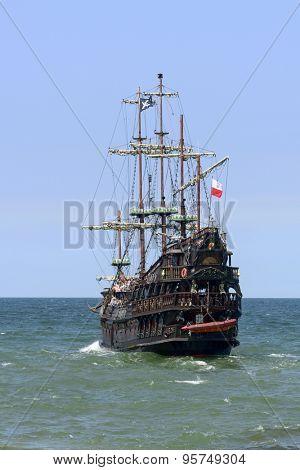 USTKA - JULY 07: Pirate touristic ship