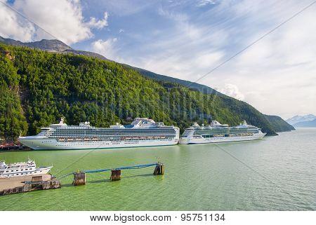 Two Cruise Ships Docked In Skagway, Alaska
