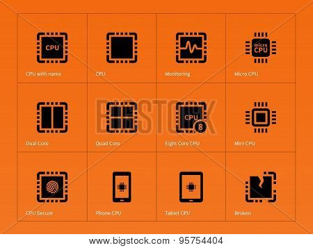 Microprocessor icons on orange background.