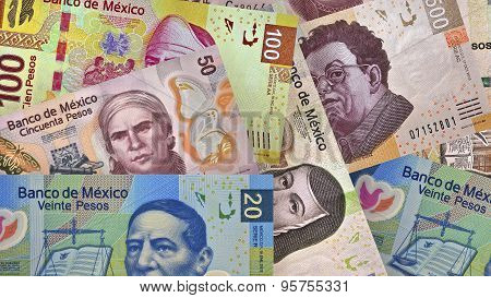 Mexican Peso bills creating a colorful background poster
