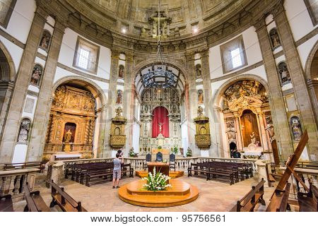 VILA NOVA DE GAIA, PORTUGAL - OCTOBER 16, 2014: The interior of Serra do Pilar Monastery's prayer hall. The monastery dates from the 16th century.