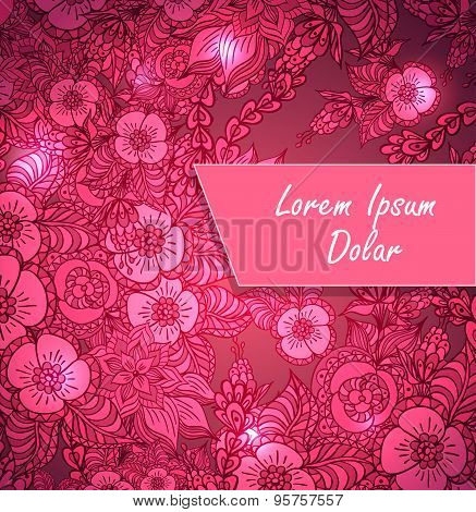 Template with doodle flowers and light in pink red