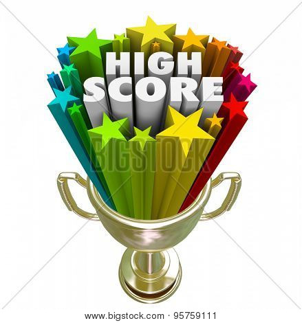 High Score words in a trophy for achievement in attaining a new record with most points by a winner in a game