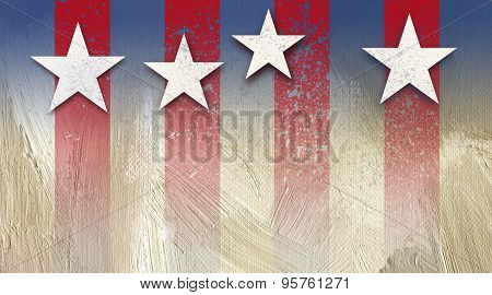 American Stars and Stripes with Starry Background