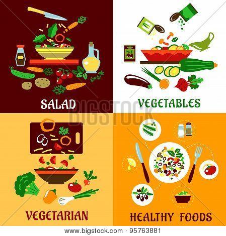 Healthy salad, vegetables and vegetarian food