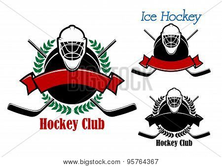 Ice hockey club emblems with sport items
