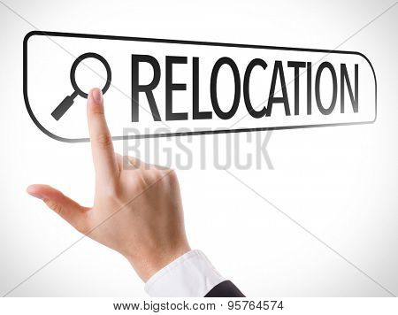 Relocation written in search bar on virtual screen